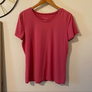 Rich Coral Pink Super Stretchy Nylon Tee